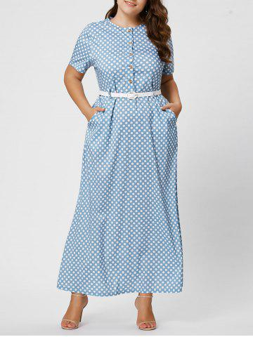 Latest Button Polka Dot Plus Size Maxi Dress with Blet - 2XL LIGHT BLUE Mobile