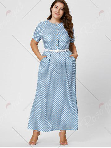 Affordable Button Polka Dot Plus Size Maxi Dress with Blet - 2XL LIGHT BLUE Mobile