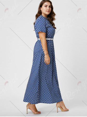 Outfits Button Polka Dot Plus Size Maxi Dress with Blet - 6XL BLUE Mobile