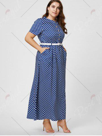 Discount Button Polka Dot Plus Size Maxi Dress with Blet - 6XL BLUE Mobile