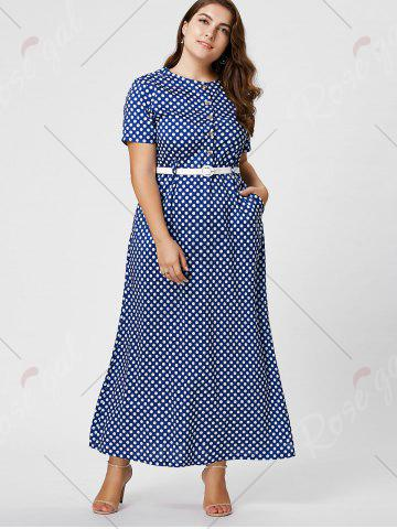 Online Button Polka Dot Plus Size Maxi Dress with Blet - 6XL BLUE Mobile