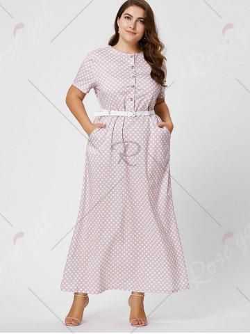 Sale Button Polka Dot Plus Size Maxi Dress with Blet - 6XL PINK Mobile