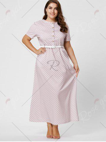 Cheap Button Polka Dot Plus Size Maxi Dress with Blet - 6XL PINK Mobile