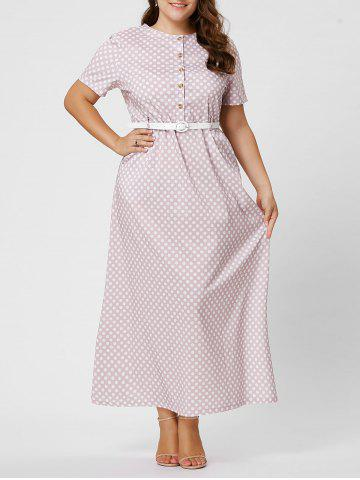 Best Button Polka Dot Plus Size Maxi Dress with Blet - 6XL PINK Mobile