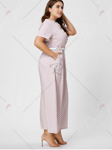 Online Button Polka Dot Plus Size Maxi Dress with Blet - 6XL PINK Mobile