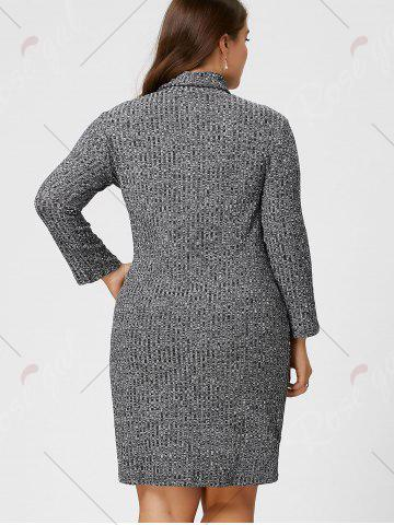 Outfit Plus Size Sheath Turtleneck Ribbed Sweater Dress - 3XL GRAY Mobile
