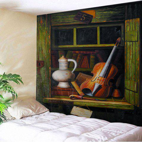 Vintage Shelf Guitar Decorative Wall Tapestry - Army Green - W91 Inch * L71 Inch