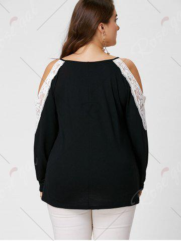 Latest Plus Size Lace Insert Long Sleeve Cold Shoulder Tee - XL BLACK Mobile
