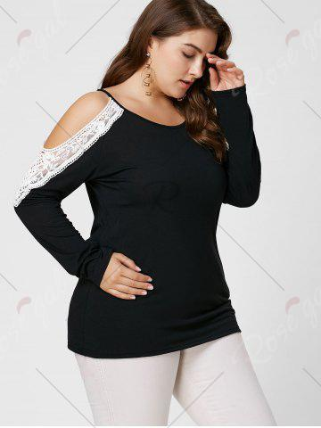 Outfit Plus Size Lace Insert Long Sleeve Cold Shoulder Tee - XL BLACK Mobile