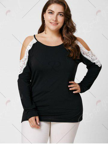 Cheap Plus Size Lace Insert Long Sleeve Cold Shoulder Tee - XL BLACK Mobile