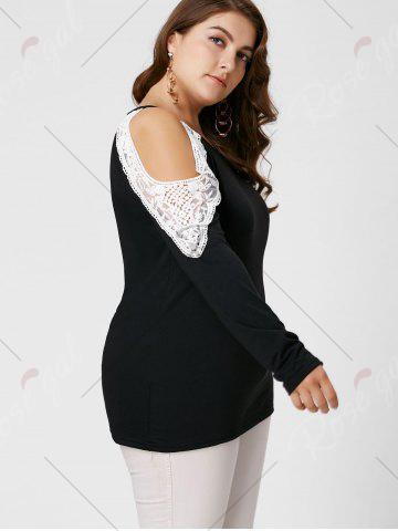 Chic Plus Size Lace Insert Long Sleeve Cold Shoulder Tee - XL BLACK Mobile