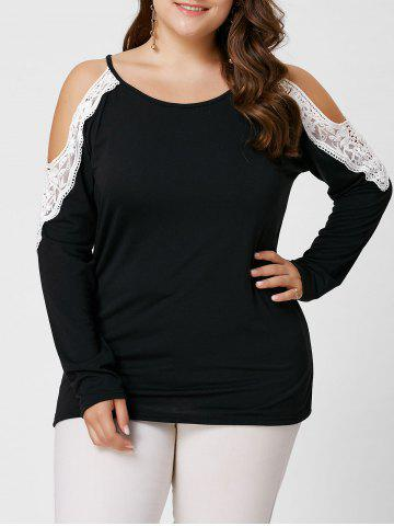 Plus Size Lace Insert Long Sleeve Cold Shoulder Tee - Black - 5xl