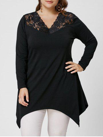 Affordable Asymmetirc Lace Trim Long Sleeve Plus Size Tee