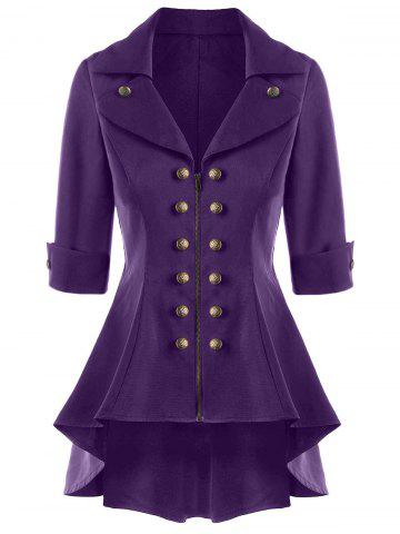 Double Breasted High Low Flare Trench Coat - Purple - M