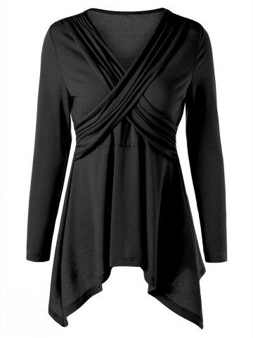 Criss Cross Peplum Top Noir M