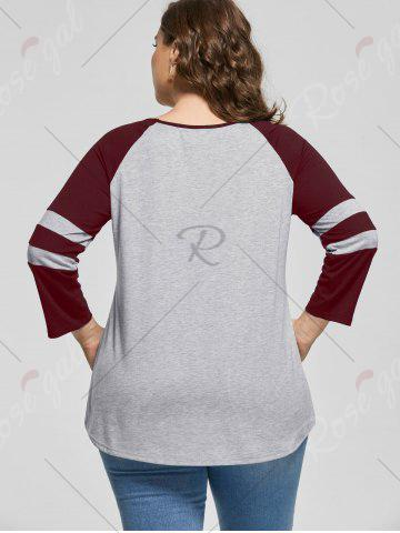 Hot Plus Size Raglan Sleeve Jersey Top - XL WINE RED Mobile