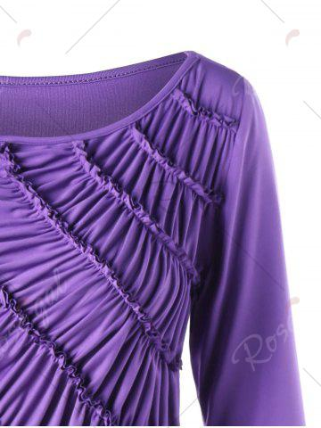 New Asymmetric Ruched Tunic Top - M PURPLE Mobile