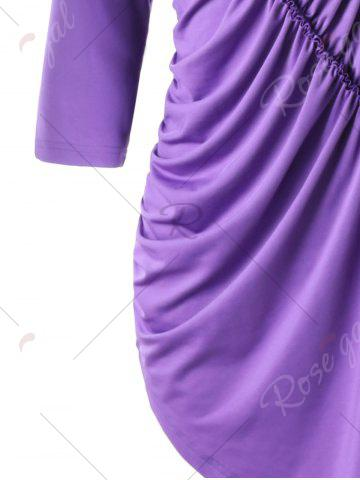 Store Asymmetric Ruched Tunic Top - M PURPLE Mobile