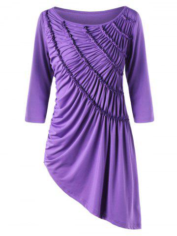 Shops Asymmetric Ruched Tunic Top - M PURPLE Mobile