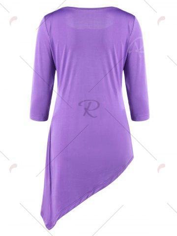 Sale Asymmetric Ruched Tunic Top - M PURPLE Mobile