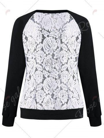Hot Raglan Sleeve Lace Trim Floral Sweatshirt - XL BLACK + WHITE Mobile