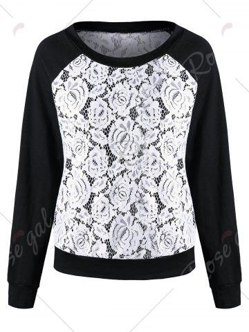Buy Raglan Sleeve Lace Trim Floral Sweatshirt - XL BLACK + WHITE Mobile