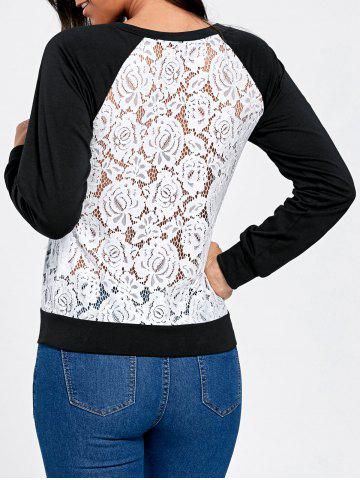 Cheap Raglan Sleeve Lace Trim Floral Sweatshirt BLACK + WHITE 2XL