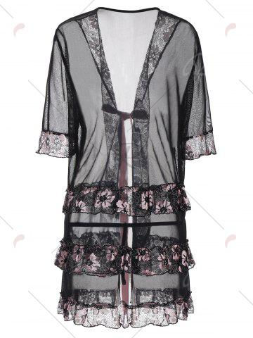 Outfit Plus Size Floral Bowknot Sheer Babydoll - 4XL BLACK Mobile