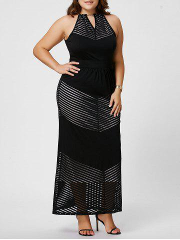 Sale Plus Size Keyhole Maxi Evening  Chain Neck Dress - XL BLACK Mobile