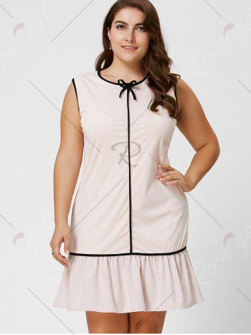Unique Plus Size Bowknot Ruffled Drop Waist Dress - 6XL LIGHT APRICOT Mobile