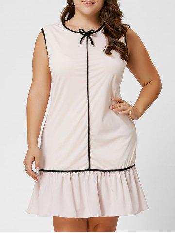 Affordable Plus Size Bowknot Ruffled Drop Waist Dress - 6XL LIGHT APRICOT Mobile
