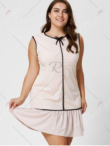 Fashion Plus Size Bowknot Ruffled Drop Waist Dress - 6XL LIGHT APRICOT Mobile