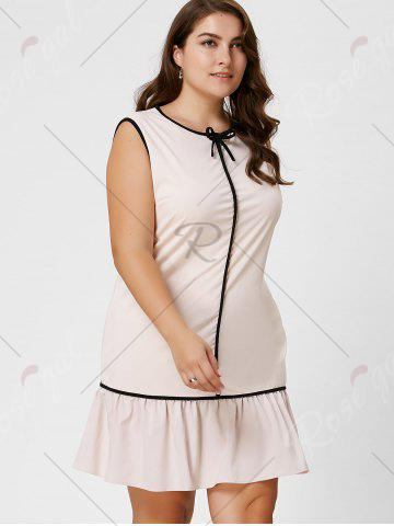 Cheap Plus Size Bowknot Ruffled Drop Waist Dress - 6XL LIGHT APRICOT Mobile