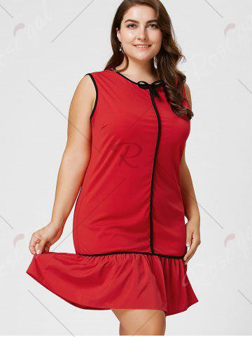 Chic Plus Size Bowknot Ruffled Drop Waist Dress - 2XL RED Mobile