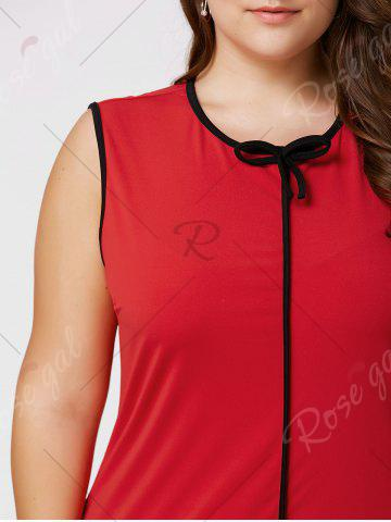 Affordable Plus Size Bowknot Ruffled Drop Waist Dress - 2XL RED Mobile