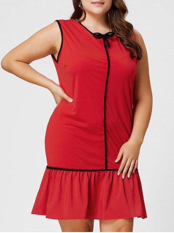 Best Plus Size Bowknot Ruffled Drop Waist Dress - 2XL RED Mobile