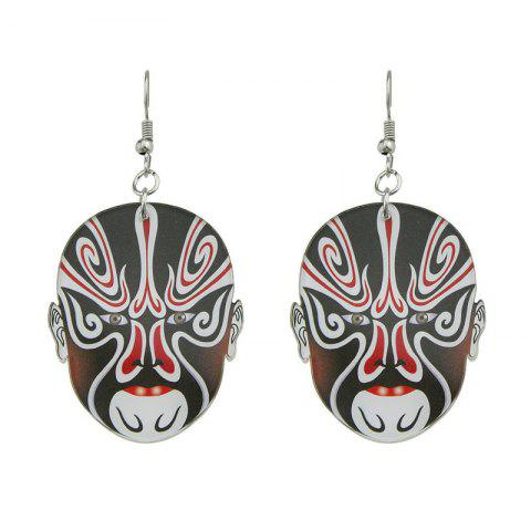 Outfits Chinese Peking Opera Oval Mask Earrings - BLACK  Mobile
