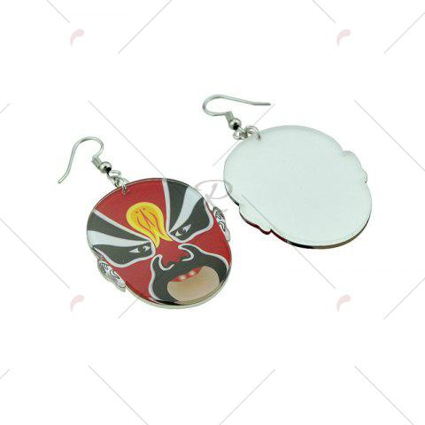 Cheap Chinese Peking Opera Oval Mask Earrings - RED  Mobile
