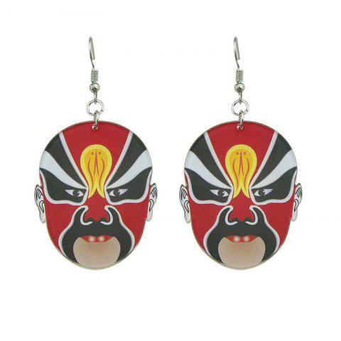 Hot Chinese Peking Opera Oval Mask Earrings RED