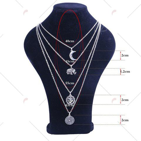 New Gypsy Alloy Layered Elephant Moon Necklace - SILVER  Mobile