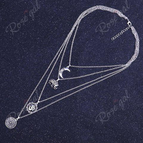 Outfits Gypsy Alloy Layered Elephant Moon Necklace - SILVER  Mobile