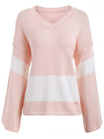 Shop Drop Shoulder V Neck Sweater LIGHT PINK ONE SIZE