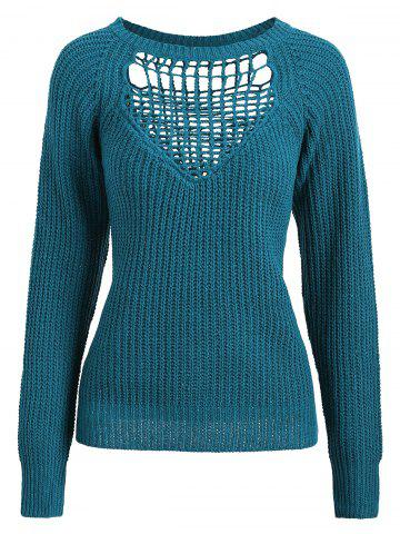 Sale Openwork Long Sleeves Textured Sweater