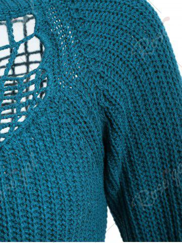 Discount Openwork Long Sleeves Textured Sweater - ONE SIZE BLUE GREEN Mobile