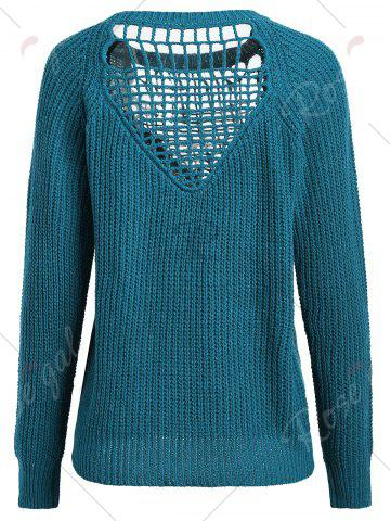 Online Openwork Long Sleeves Textured Sweater - ONE SIZE BLUE GREEN Mobile