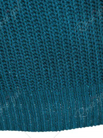 New Openwork Long Sleeves Textured Sweater - ONE SIZE BLUE GREEN Mobile