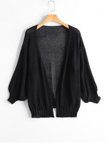 Online Drop Shoulder Collarless Sheer Cardigan