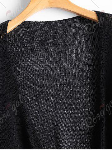Outfits Drop Shoulder Collarless Sheer Cardigan - ONE SIZE BLACK Mobile