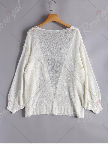 Outfits Drop Shoulder Collarless Sheer Cardigan - ONE SIZE WHITE Mobile