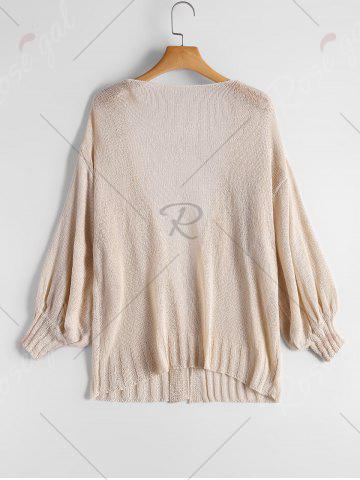 New Drop Shoulder Collarless Sheer Cardigan - ONE SIZE BEIGE Mobile